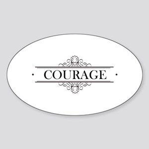 Courage Calligraphy Sticker (Oval)