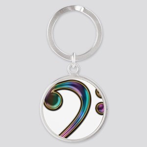 Colorful Bass Clef Round Keychain