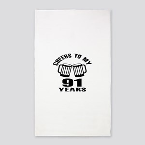 Cheers To My 91 Years Birthday Area Rug