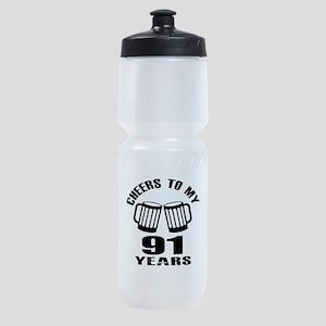 Cheers To My 91 Years Birthday Sports Bottle
