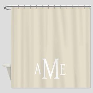 Gray White Traditional Monogram Shower Curtain
