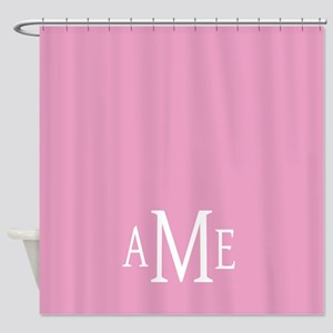 Pink White Traditional Monogram Shower Curtain