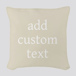 Add Text Background gray Woven Throw Pillow