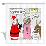 Santa Shopping Shower Curtain