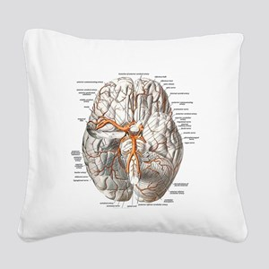 Brain and Blood Vessels Square Canvas Pillow