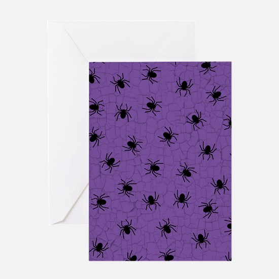 Purple Spider Pattern Greeting Cards