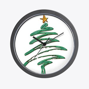 Swished Xmas Tree Logo copy Wall Clock