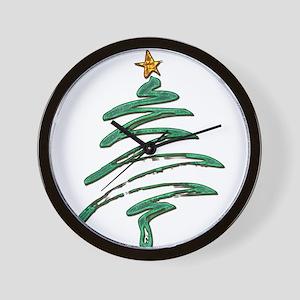 Swished Xmas Tree Logo copy Wall Clock