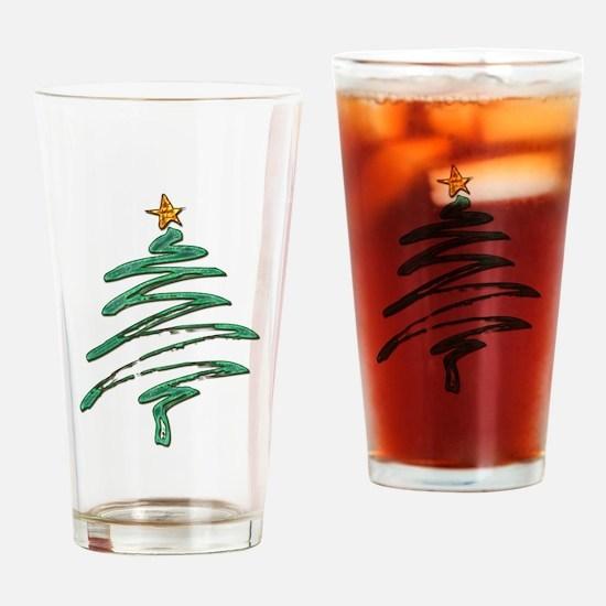 Swished Xmas Tree Logo copy Drinking Glass