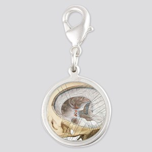 Human Brain and Skull Silver Round Charm