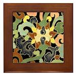Art Deco Floral Swirl Framed Tile