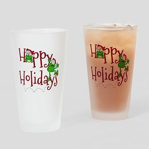 Hoppy Holidays - Frogs Drinking Glass