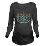 Funky Menorah Long Sleeve Maternity T-Shirt