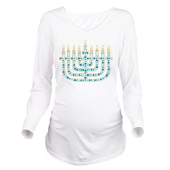 Funky Menorah Long Sleeve Maternity T-Shirt