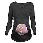 x2 Purple and Orange Long Sleeve Maternity T-Shirt