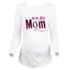 Pink Rock Star Mom Long Sleeve Maternity T-Shirt