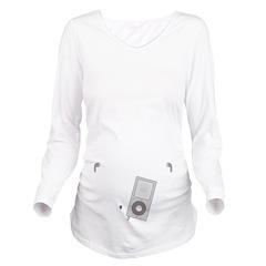 Mp3 Headphones Long Sleeve Maternity T-Shirt