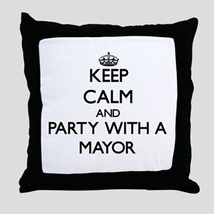 Keep Calm and Party With a Mayor Throw Pillow