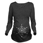 White Snowflake Long Sleeve Maternity T-Shirt
