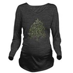 Green and Pink Tree Long Sleeve Maternity T-Shirt