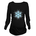 Blue Snowflake Long Sleeve Maternity T-Shirt