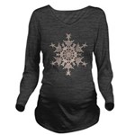 Brown Snowflake Long Sleeve Maternity T-Shirt