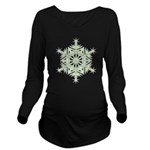 Green Snowflake Long Sleeve Maternity T-Shirt