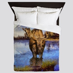 Mt Shuksan Moose Queen Duvet
