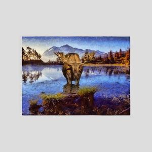 Mt Shuksan Moose 5'x7'Area Rug