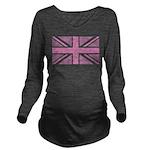 Pink Union Jack Long Sleeve Maternity T-Shirt