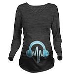 Blue Headphones Long Sleeve Maternity T-Shirt
