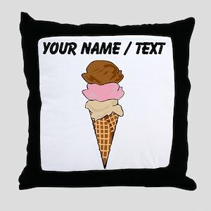 Custom Ice Cream Cone Throw Pillow