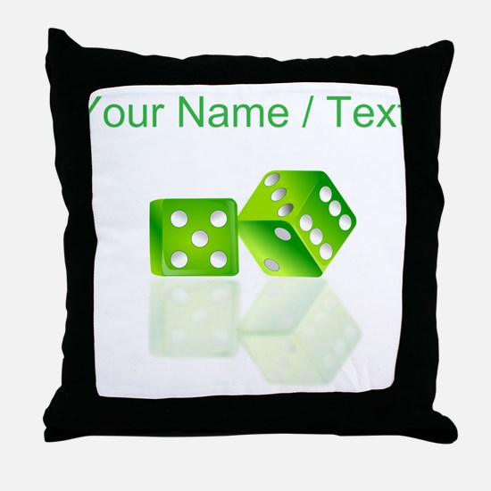 Custom Green Dice Throw Pillow