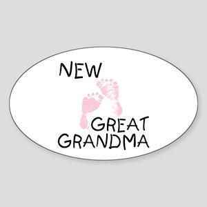New Great Grandma (pink) Oval Sticker