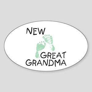 New Great Grandma (green) Oval Sticker