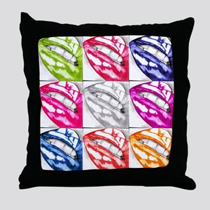 Hot Lips Pop Art Throw Pillow