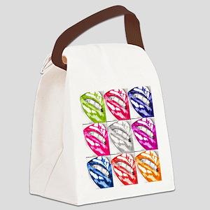 Hot Lips Pop Art Canvas Lunch Bag