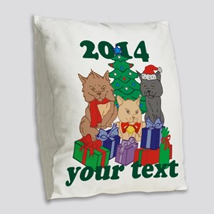 Personalized Christmas Cats Burlap Throw Pillow