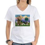 StFrancis-4Cavaliers Women's V-Neck T-Shirt