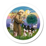 StFrancis-4Cavaliers Round Car Magnet