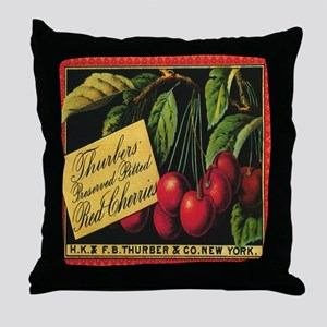Vintage Fruit Crate Label Throw Pillow