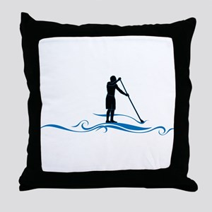 Stand Up Paddle-Waves Throw Pillow