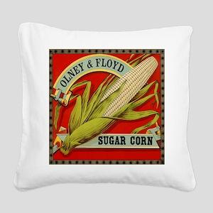 Vintage Label Art, Sugar Corn Square Canvas Pillow