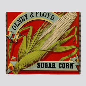 Vintage Label Art, Sugar Corn Throw Blanket