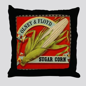 Vintage Label Art, Sugar Corn Throw Pillow