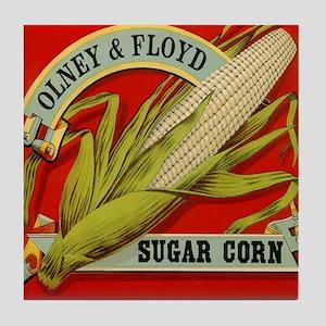 Vintage Label Art, Sugar Corn Tile Coaster