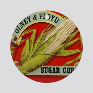 Vintage Label Art, Sugar Corn Round Ornament