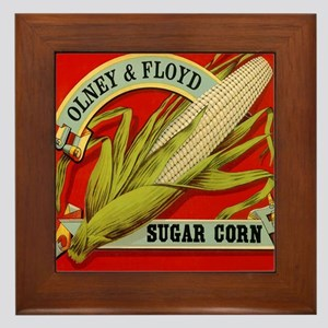 Vintage Label Art, Sugar Corn Framed Tile