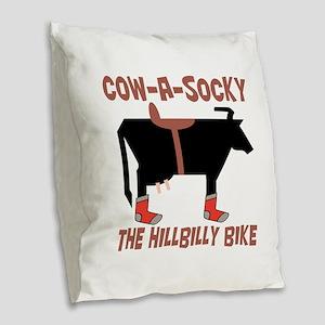 Cow A Socky Hillbilly Bike Burlap Throw Pillow
