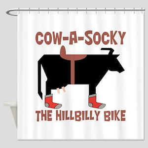Cow A Socky Hillbilly Bike Shower Curtain